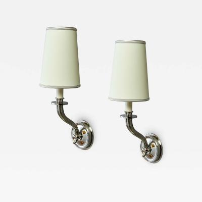 Pair of Nickeled Bronze Sconces France 1950s