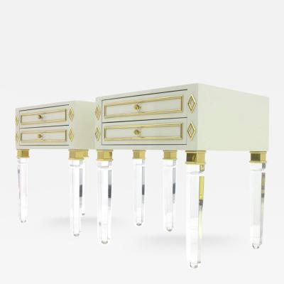 Pair of Nightstands Lucite Wood and Brass 1980s