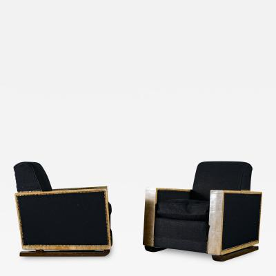 Pair of Oak Club Chairs in the style of J M Frank
