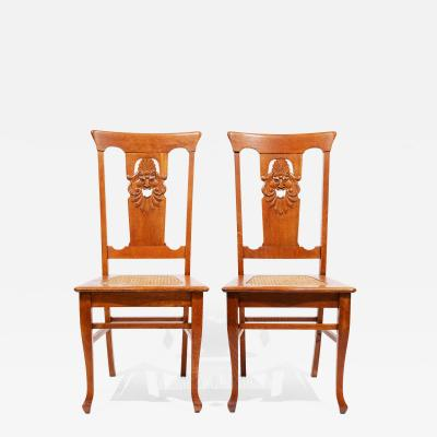 Pair of Oak Side Chairs Bocca di Verita