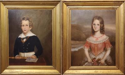 Pair of Oil Portraits of Children In North Carolina circa 1830