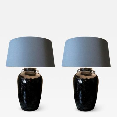 Pair of Old Ceramic Lamps