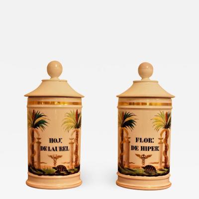 Pair of Old Paris Apothecary Jars