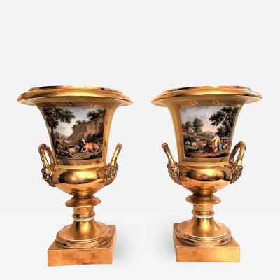 Pair of Old Paris Campagna Form Porcelain Urns France Circa 1830