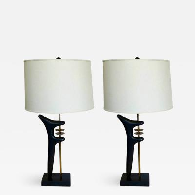 Pair of Opposing Biomorphic Lamps in Oil Rubbed Bronze and Brass