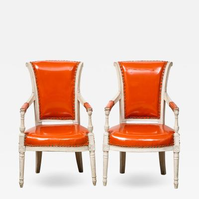 Pair of Orange Directoire Style Chairs