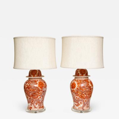 Pair of Orange and White Ceramic Lamps