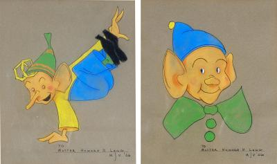 Pair of Original Disney style Character Drawings Elf Pinocchio signed