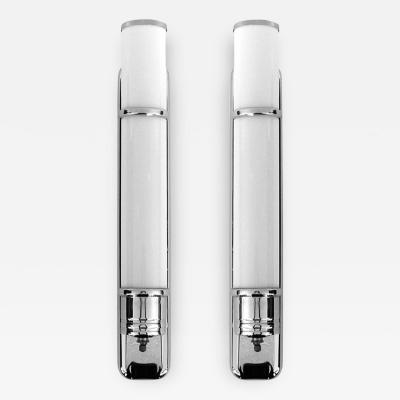 Pair of Original Streamline Art Deco Tubular Chrome White Glass Sconces