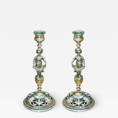 Pair of Ornate Brass Victorian Candlesticks
