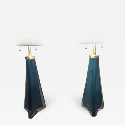 Pair of Orrefors lamps frosted glass by Carl Fagerlund