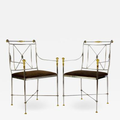 Pair of Outstanding Italian Steel and Brass Armchairs 1970s