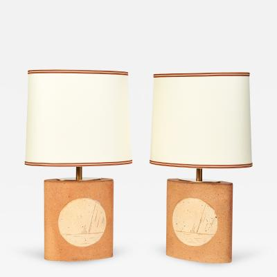 Pair of Oval Ceramic Lamps France 1970s