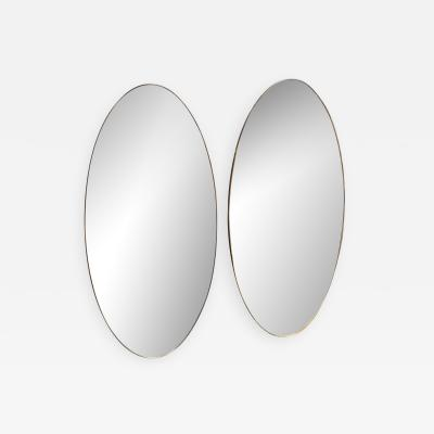 Pair of Oversize Oval Wall Mirrors Italy Late 1960s