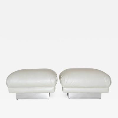 Pair of Oversized Ottomans or Poufs in White Leatherette 1970s