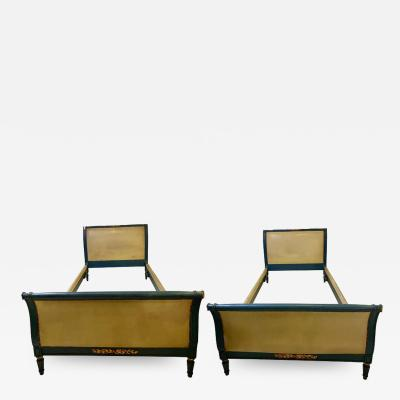 Pair of Paint and Parcel Gilt Twin Bed Frames by Maison Jansen