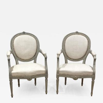 Pair of Painted Armchairs Sweden circa 1900