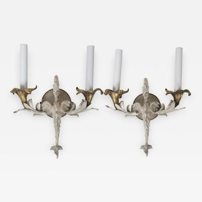 Pair of Painted Bronze Dragon Sconces France Circa 1920