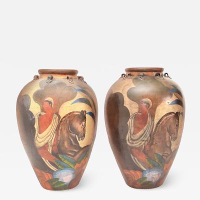 Pair of Painted Deco Style Antique Terra Cotta Amphora Jars