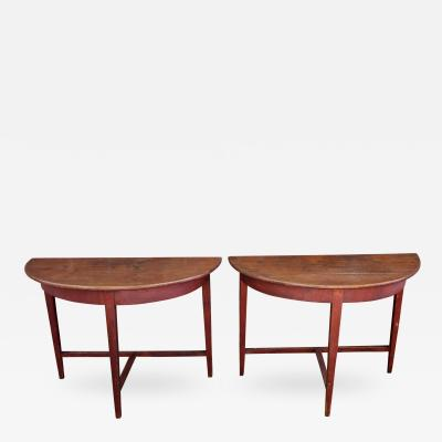 Pair of Painted Demilune Tables American possibly Southern Mid 19th Century