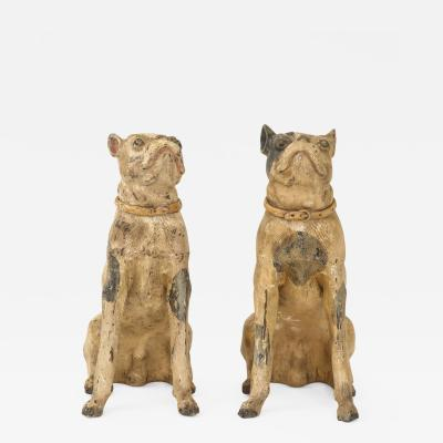 Pair of Painted Earthenware Dogs