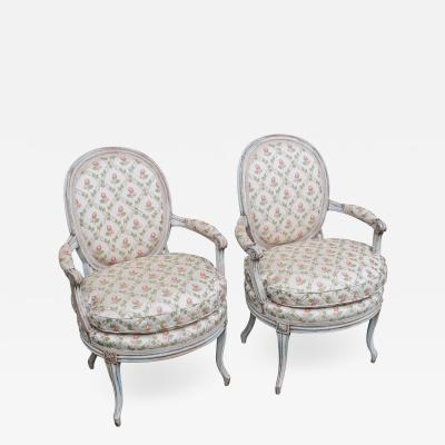 Pair of Painted Fauteuils Chairs