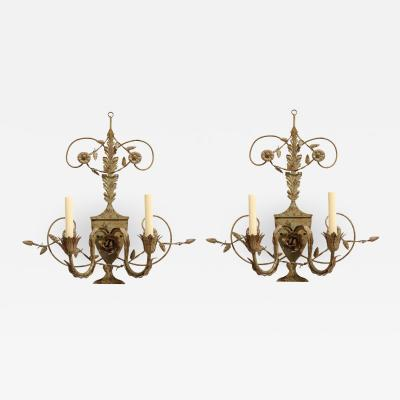 Pair of Painted Tole 2 Light Sconces