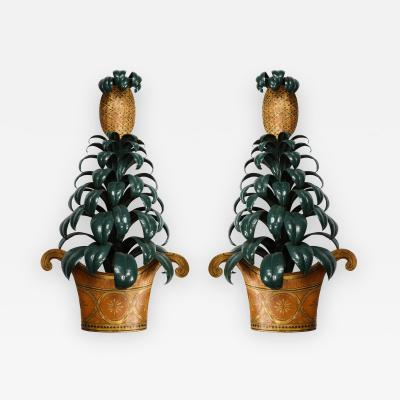 Pair of Painted Tole Pinapple Sconces