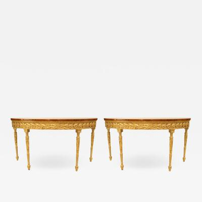Pair of Pair of English Georgian Satinwood Demilune Console Table