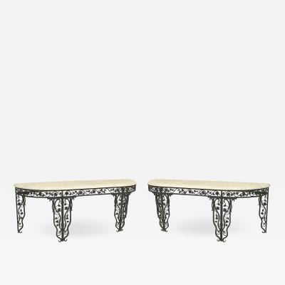 Pair of Pair of French Art Moderne Iron and Marble Console Table