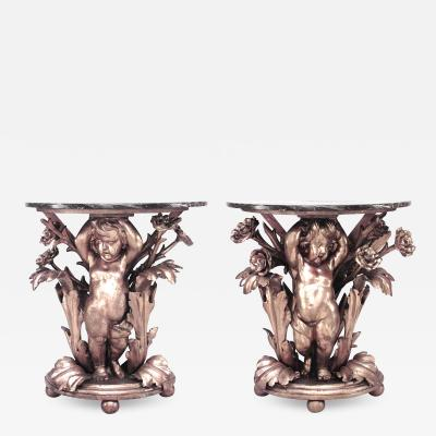Pair of Pair of French Louis XV Gilt Cupid Marble Top Console Table