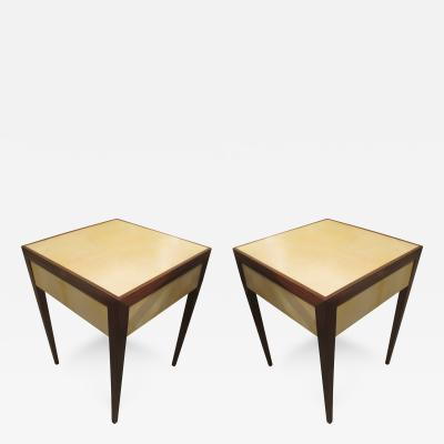Pair of Parchment Side Tables or End Tables with Pull Out Drawers