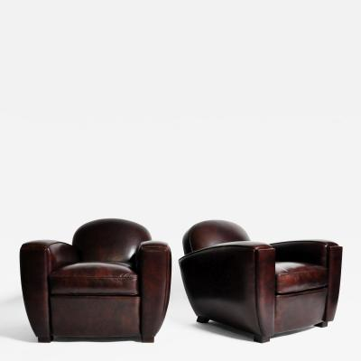 Pair of Parisian Low Back Maroon Leather Club Chairs