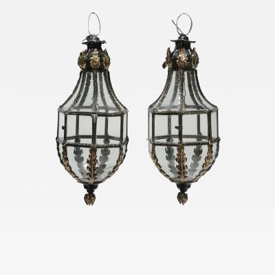 Pair of Patinated Brass Hanging Lanterns