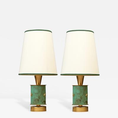 Pair of Patinated Brass Lamps France 1950s