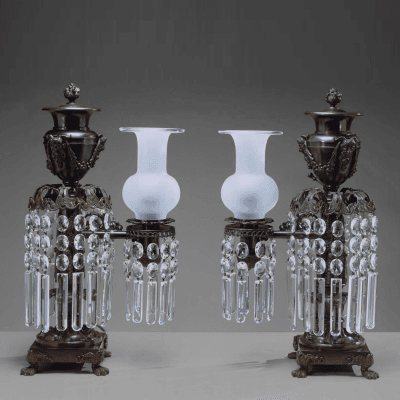 Pair of Patinated Bronze Argand Lamps