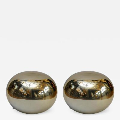 Pair of Pebble Shaped Golden Glass Lamps