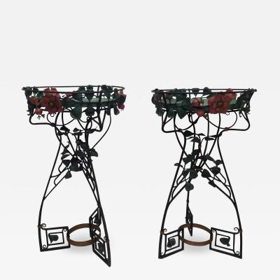 Pair of Period Art Nouveau Wrought iron Fernery Plant Stands