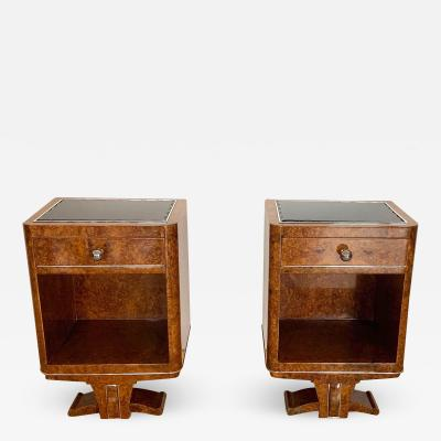 Pair of Petite Art Deco Nightstands Amboyna Roots France circa 1930