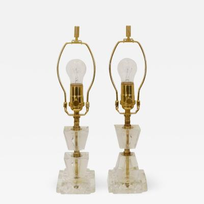 Pair of Petite Crystal Brass Boudoir Lamps