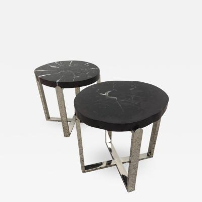 Pair of Petrified Wood Black Cr me Vein Top Chrome Handmade Petite Side Tables