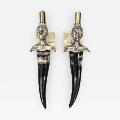 Pair of Pewter and Horn Figural Sconces