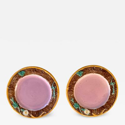 Pair of Pink Majolica Plates with Brown Floral Borders