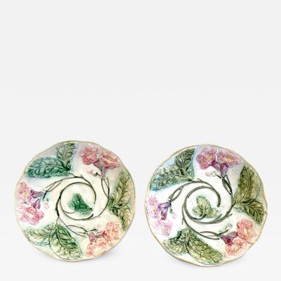 Pair of Pink and Green Majolica Plates Late 19th Century