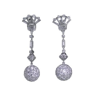 Pair of Platinum and Diamond Pendant Earrings circa 1950