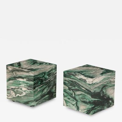 Pair of Polar Verde Cubes Side Tables
