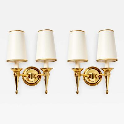 Pair of Polished Bonze Sconces Italy 1940s