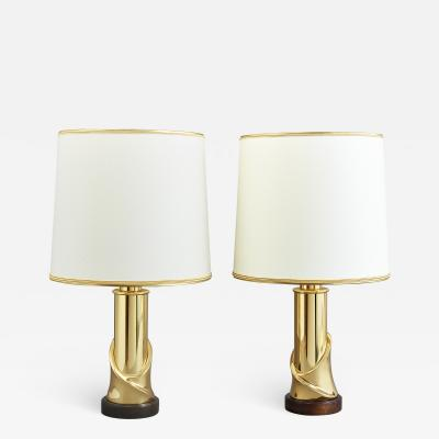Pair of Polished Brass Table Lamps 1970s