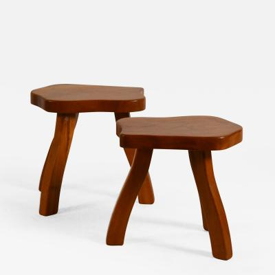 Pair of Polished Walnut Tripod Stools in the Style of Charlotte Perriand