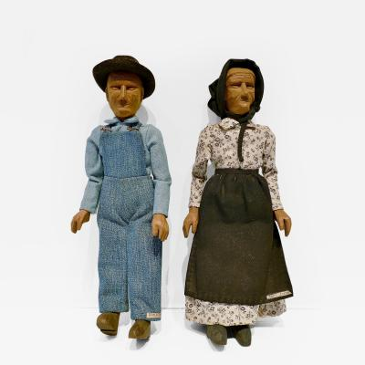 Pair of Polly Page Folk Art Dolls Aunt Jenny and Uncle Pink